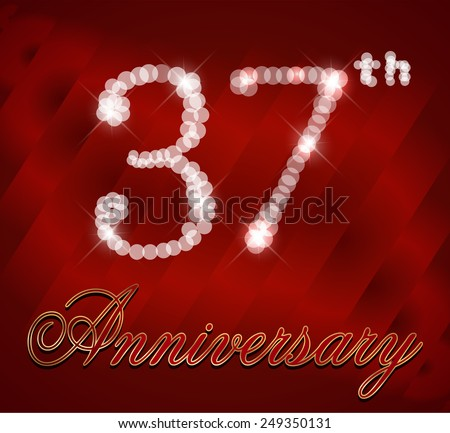 37 Year Happy Anniversary Card 37th Stock Vector Royalty Free