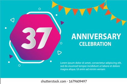 37 years anniversary celebration logo vector template design