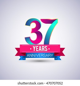 37 years anniversary logo, blue and red colored vector design