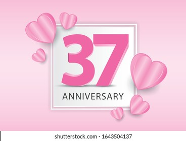 37 Years Anniversary Logo Celebration With heart background. Valentine's Day Anniversary banner vector template