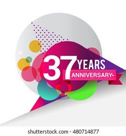 37 Years Anniversary logo with colorful geometric background, vector design template elements for your birthday celebration.