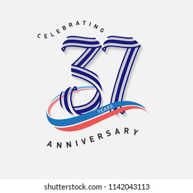 37 years Anniversary ribbon shape numbers with swoosh. Celebrating 37  years anniversary event party template.