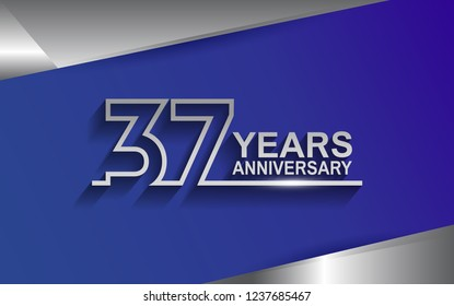 37 years anniversary silver color line style isolated on blue background