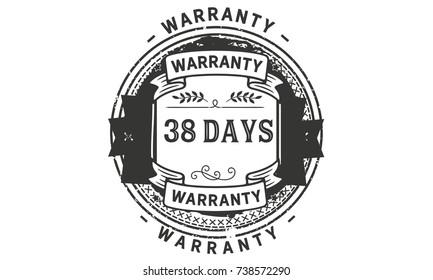 38 days warranty icon vintage rubber stamp guarantee