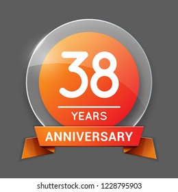 38 / Thirty Eight Years Anniversary Logo with Glass Emblem Isolated. 38th Celebration. Editable Vector Illustration.