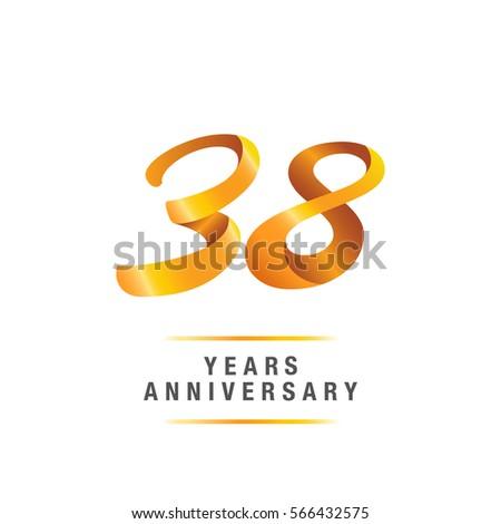38 Years Golden Anniversary Celebration Logo Stock Vector Royalty