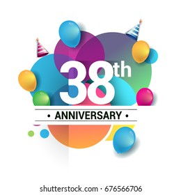 38th years anniversary logo, vector design birthday celebration with colorful geometric, Circles and balloons isolated on white background.