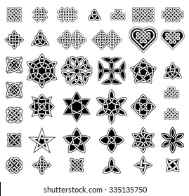 39 Celtic style knots collection, vector illustration.