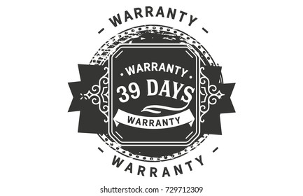 39 days warranty icon vintage rubber stamp guarantee