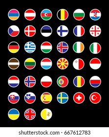 39 Europe Country National Flags Round Icon Set