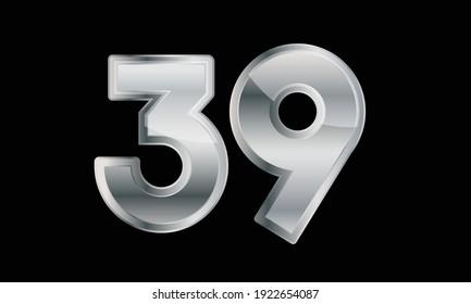 39 Silver Elegant Modern 3D Number
