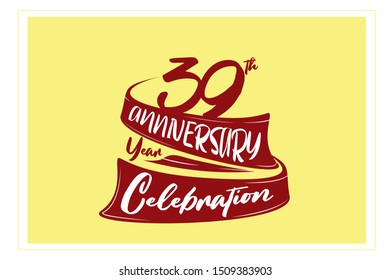 39 year anniversary Red Ribbon, minimalist logo, greeting card. Birthday invitation. 39 year sign. Red space vector illustration on yellow background - Vector
