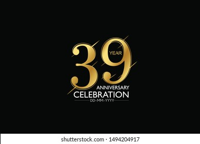 39 year minimalist logo years, jubilee, greeting card. Birthday invitation. Sign Gold space vector illustration on black background - Vector