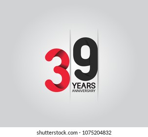 39 years anniversary celebration logotype. anniversary logo with red and black color isolated on white background, vector design for celebration, invitation card, and greeting card