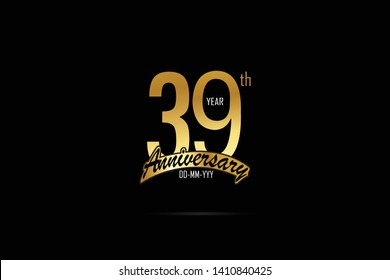 39 years anniversary celebration logotype. anniversary logo with golden Ribbons isolated on black backgrounds, for Birthdays, Invitation, Banner Card - Vector