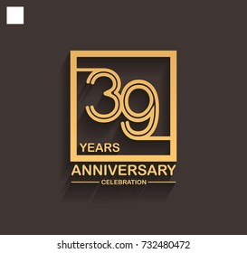 39 years anniversary celebration logotype style linked line in the square with golden color. vector illustration isolated on dark background