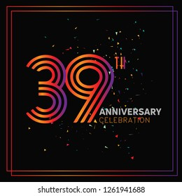 39 years anniversary design template Vector and illustration, collaboration between purple and rainbow with a dark background, gliter