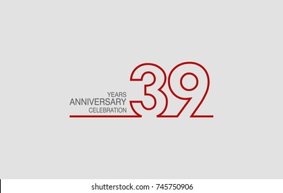 39 years anniversary linked logotype with red color isolated on white background for company celebration event
