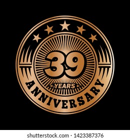 39 years anniversary. Anniversary logo design. Vector and illustration.