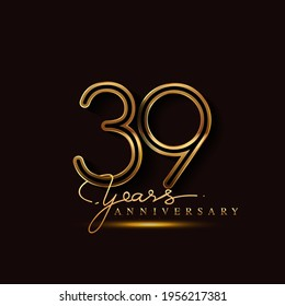 39 Years Anniversary Logo Golden Colored isolated on black background, vector design for greeting card and invitation card
