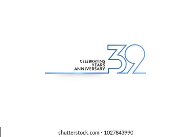 39 Years Anniversary logotype with blue colored font numbers made of one connected line, isolated on white background for company celebration event, birthday