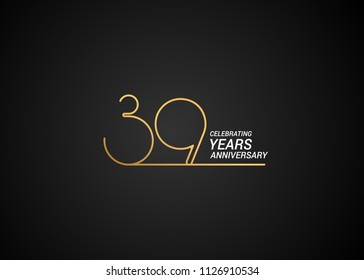 39 Years anniversary logotype with golden colored font numbers made of one connected line, isolated on black background for company celebration event, birthday
