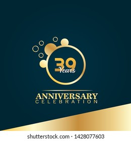39 years birthday celebration logo. golden 39th anniversary logo.designed for celebration card, greeting card and invitation card.