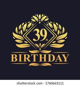 39 years Birthday Logo, Luxury Golden 39th Birthday Celebration.