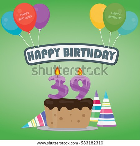 39th Birthday Cake And Decoration Background In Flat Design With Balloons Candles