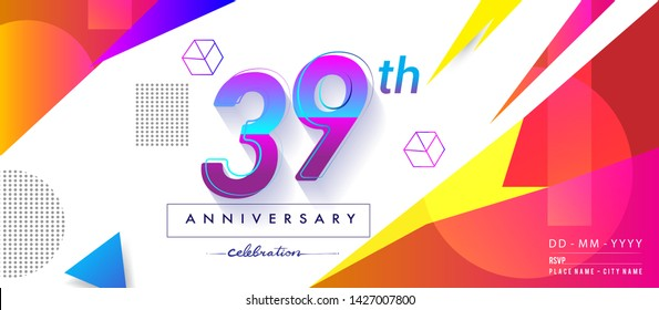 39th years anniversary logo, vector design birthday celebration with colorful geometric background and circles shape.