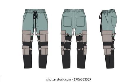 3-color cargo pocket pants design, flat sketch, front and back views