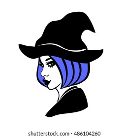 3-color vector illustration of young & attractive witch with full lips, blue hair and bob haircut wearing hat isolated on white background. Girl in hag's costume, graphic element for halloween design