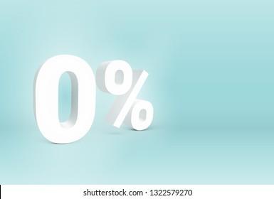 3D '0%' sign, vector illustration