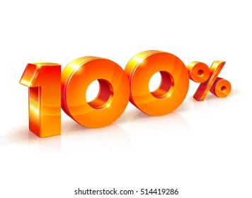 3d 100 Percent Discount Sign isolated on White Background. Special Offer 100% Discount Tag, Sale Up to 100 Percent Off, Sale Symbol, Special Offer Label, Sticker, Tag, Banner, Badge, Emblem, Icon