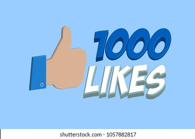 3D 1000 likes pop art badge in vector graphics
