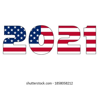 3D 2021 text with American flag inside the text. Vector illustration on white background. USA flag in text. American flag in letters. National emblem. Patriotic illustration.