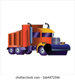 3d, 2d snow plow tractor cleaning city snowy roads winter streets snow removal. isolated vector.
