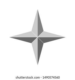 3d 4 point beveled star. Vector illustration