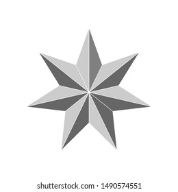 3d 7 point beveled star. Vector illustration
