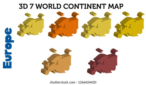 3D  7 World continent Map (Europe) - vector
