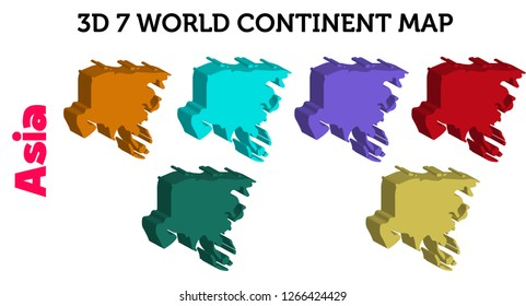 3D  7 World continent Map (Asia) - vector