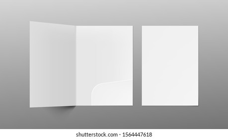 3D A4 Size Single Pocket Folder Mock Up Isolated On Gray Background. EPS10 Vector