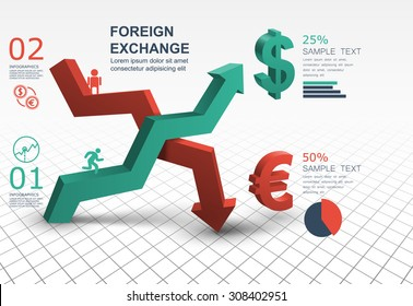 3d abstract arrow banner Foreign Exchange Market infographic template creative design
