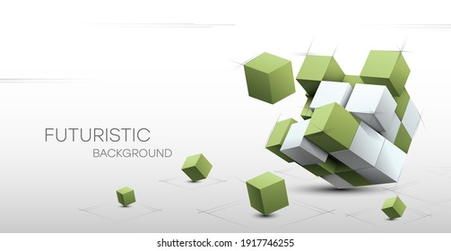 3D Abstract background with cubes. Volumetric abstract background, connection from geometric cubes. Science and technology. Internet communications. Vector illustration.
