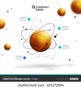 3D abstract background with gold sphere particles and atomic structure. Vector design layout template for business presentations, flyers, posters. Scientific future technology