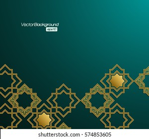 3D abstract background with Islamic geometric elements