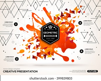 3D abstract background with paint stain and geometric triangles shapes. Vector design layout for business presentations, flyers, posters. Scientific future technology backdrop.