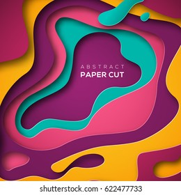 3D abstract background with paper cut shapes. Vector design layout for business presentations, flyers, posters and invitations. Colorful carving art - blue, yellow and violet
