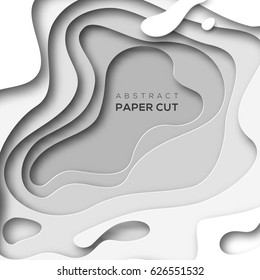 3D abstract background with white paper cut shapes. Vector design layout for business presentations, flyers, posters.