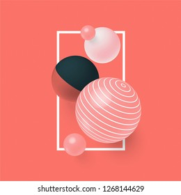 3D abstract balls with patterns on live coral color background. creative minimal objects for ad, cover, poster, banner, social media, print, promotion, card, print.